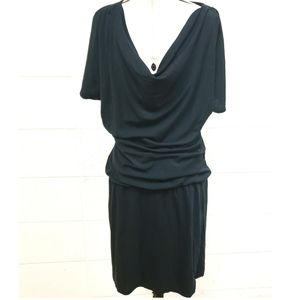 Banana Republic Black Plunging VNeck Ruched Dress